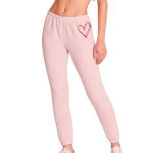 WILDFOX Sketchy Heart Pink Sweatpants Joggers XS